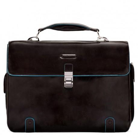 Cartella porta pc/iPad, 2 soffietti, porta penne e porta ombrello esterni Blue Square colore mogano - PIQUADRO CA1066B2/MO