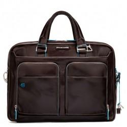 Borsa porta PC/iPad/iPad Air a 2 manici con tasche frontali  Blue Square colore mogano - PIQUADRO CA2849B2/MO