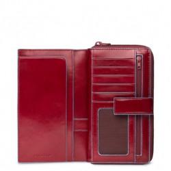 Portafoglio donna con portamonete e carte credito Blue Square rosso - PIQUADRO PD1354B2/R