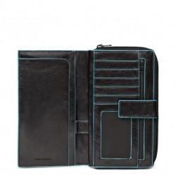 Portafoglio donna con portamonete e carte credito Blue Square nero - PIQUADRO PD1354B2/N