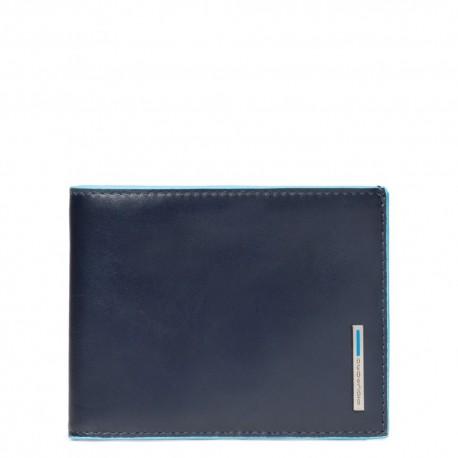 Portafoglio uomo con portamonete Blue Square colore blu - Piquadro PU257B2/BLU2