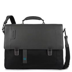 Cartella porta computer a due chiusure con patta, scomparto porta iPad®Air/Pro 9,7 e CONNEQU colore nero - PIQUADRO CA4130P16/N