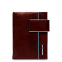 Organizer grande in pelle con patta e porta penne Blue Square colore mogano - PIQUADRO AG1075B2/MO