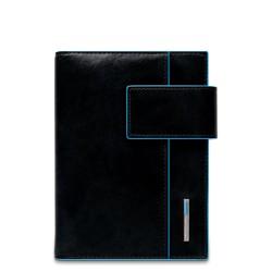 Organizer grande in pelle con patta e porta penne Blue Square colore nero - PIQUADRO AG1075B2/N
