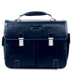 Cartella porta computer e iPad, 2 tasche, porta penne e porta ombrello esterni Blue Square colore blu - PIQUADRO CA1068B2/BLU2
