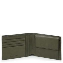 Portafoglio uomo con portamonete e protezione anti-frode RFID Black Square verde - PIQUADRO PU257B3R/VE
