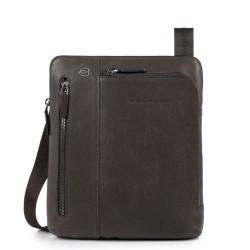 Borsello porta iPad®Air/Pro 9,7 con doppia tasca frontale chiusa da zip Black Square colore testa di moro - PIQUADRO CA1816B3/TM