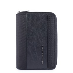 Organizer medio con chiusura a zip, porta penne e porta biglietti da visita Brief colore nero - PIQUADRO AG4527BR/N