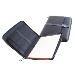 COURIER LEATHER PORTABLOCCO FORMATO A4 CON TASCA PORTA IPAD colore blu - NAVA DESIGN CL875B