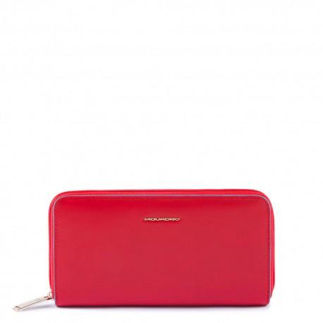 Portafoglio donna a 4 soffietti con zip, portamonete, porta carte di credito, anti-frode RFID Blue Square - PIQUADRO PD1515B2/R6