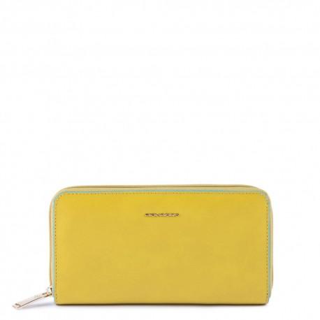 Portafoglio donna a 4 soffietti con zip, portamonete, porta carte di credito, anti-frode RFID Blue Square - PIQUADRO PD1515B2/G5