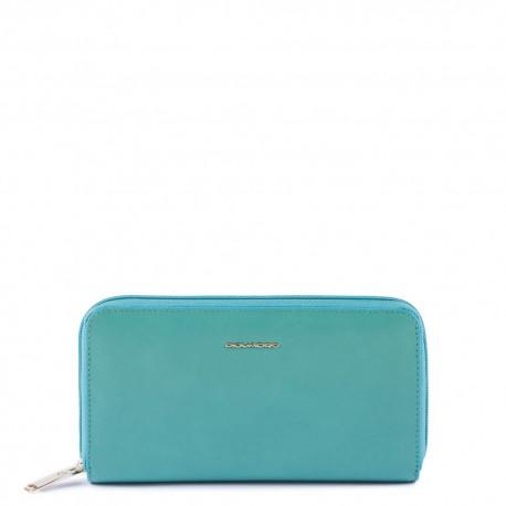 Portafoglio donna a 4 soffietti con zip, portamonete, porta carte di credito, anti-frode RFID Blue Square -PIQUADRO PD1515B2/AM2