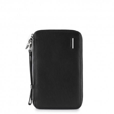 Porta documenti da viaggio con porta carte di credito, portapenne e pochette rimovibile Stationery nero - PIQUADRO PP3246MO/N