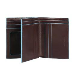 Portafoglio uomo verticale con porta carte di credito Blue Square colore mogano - Piquadro PU3243B2/MO