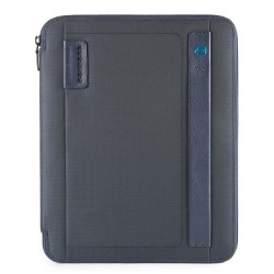 Portablocco sottile formato A4 con chiusura a zip e porta penne P16 colore carta da zucchero - PIQUADRO PB2830P16/CHEVBLU