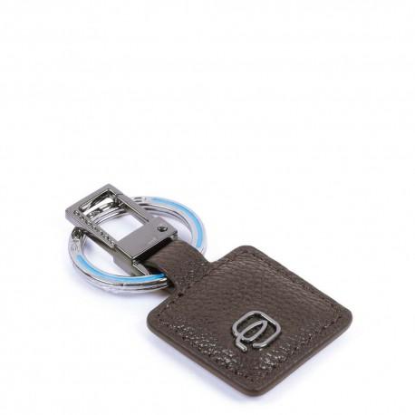 Portachiavi con moschettone Black Square colore testa di moro - PIQUADRO PC3757B3/TM