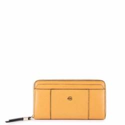 Portafoglio donna a quattro soffietti chiuso da zip con portamonete Circle giallo - PIQUADRO PD1515W92R/G