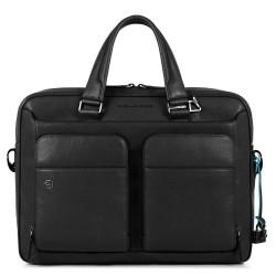 Borsa sottile porta PC/iPad Air/Pro 9,7 a 2 manici con CONNEQU Black Square colore nero - PIQUADRO CA2849B3/N