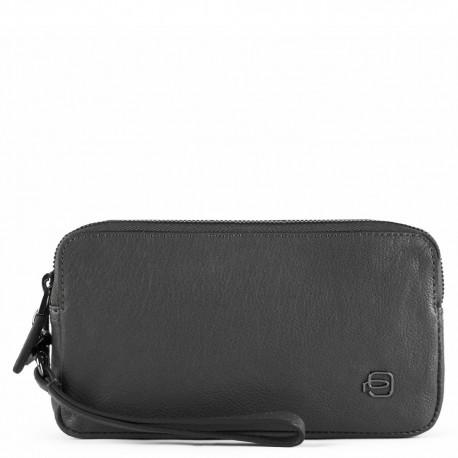 Pochette a due scomparti con porta monete, porta carte di credito e anti-frode RFID Black Square nero - PIQUADRO AC5187B3/N