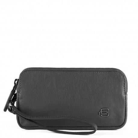 Pochette piccola a due scomparti con polsiera rimovibile Black Square colore nero - PIQUADRO AC5186B3/N