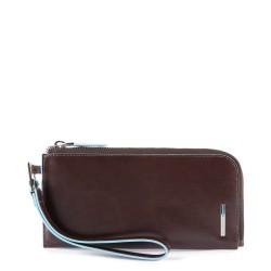 Pochette portafoglio sottile per smartphone con porta carte di credito e protezione anti-frode mogano - PIQUADRO PP4766B2R/MO