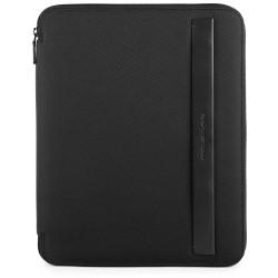 Portablocco sottile formato A4 in tessuto e pelle Klout colore nero - PIQUADRO PB2830S100/N