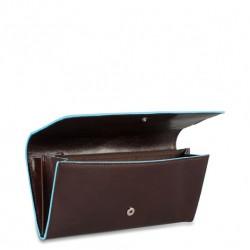 Portafoglio donna pelle 2 soffietti con patta, portamonete e carte di credito Blue Square colore mogano - PIQUADRO PD3211B2/MO