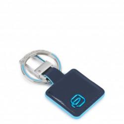 Portachiavi in pelle con anello e moschettone colore blu notte - PIQUADRO PC3757B2/BLU2