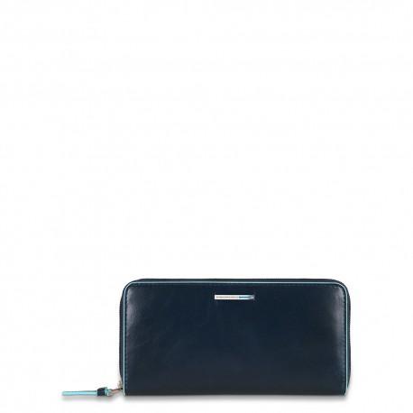 Portafoglio donna 3 soffietti zip, portamonete e porta cc Blue Square colore blu notte - PIQUADRO PD3229B2/BLU2